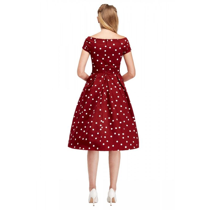 Swing Dress, LILY Burgundy Polka (V873-11)