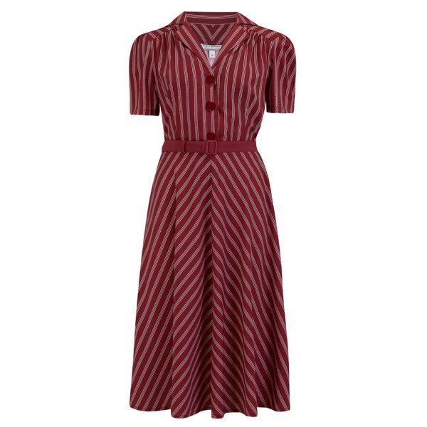 Swing Dress, ROCK'N Lola Maroon Stripe