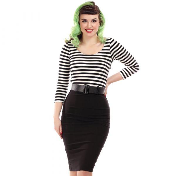 Pencil Dress, MANUELA Black Stripe