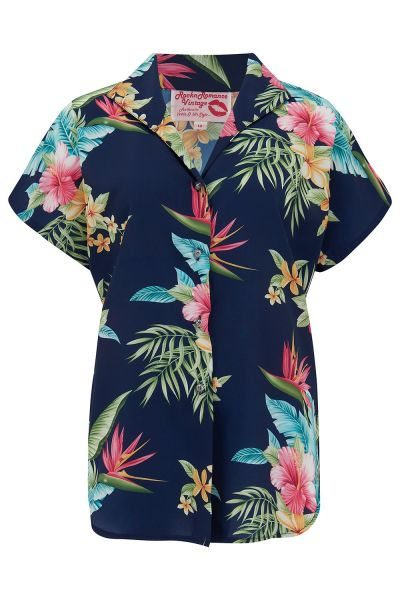 Blouse, MARIA Honolulu Navy
