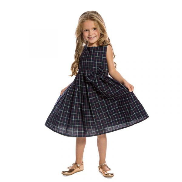 Kids Swing Dress, GRACE Navy Check
