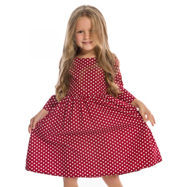 Kids Swing Dress, HOLLY Polka Burgundy