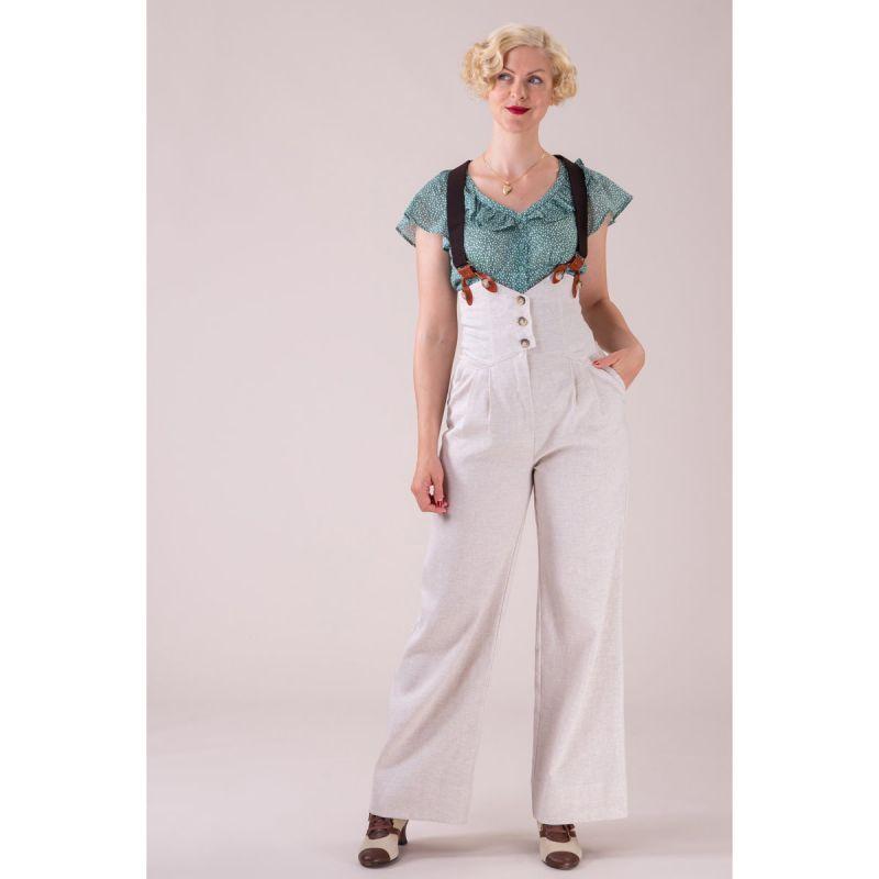 EMMY Housut, Miss Fancypants Cream Herringbone Linen