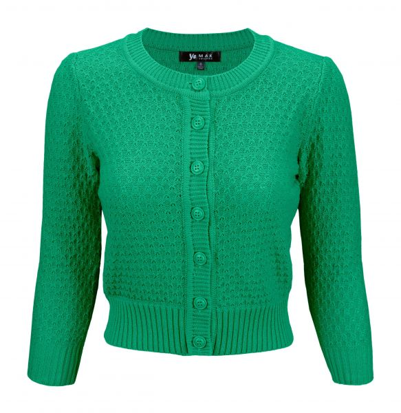 MAK Cardigan, Pat 50s Kelly Green