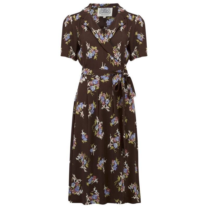 Mekko, SEAMSTRESS OF BLOOMSBURY Peggy Wrap Brown Floral