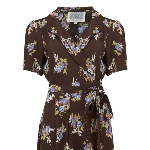 Dress, SEAMSTRESS OF BLOOMSBURY Peggy Wrap Brown Floral