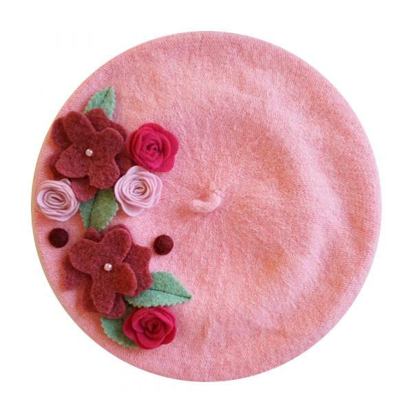 Beret, MIRANDA'S Green Pink Floral