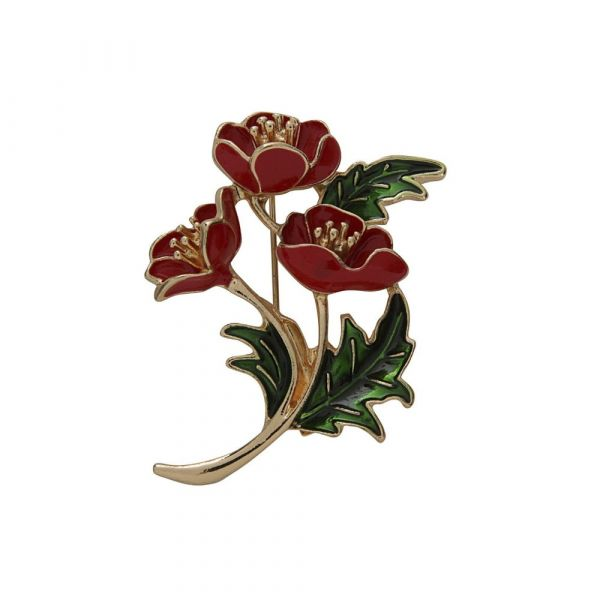 Brooch, RED FLOWERS