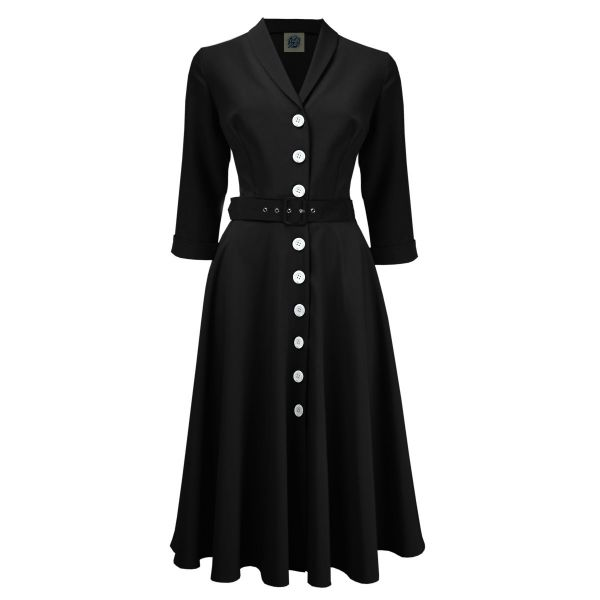 Swing Dress, PRETTY RETRO 50s Shirtwaister Black