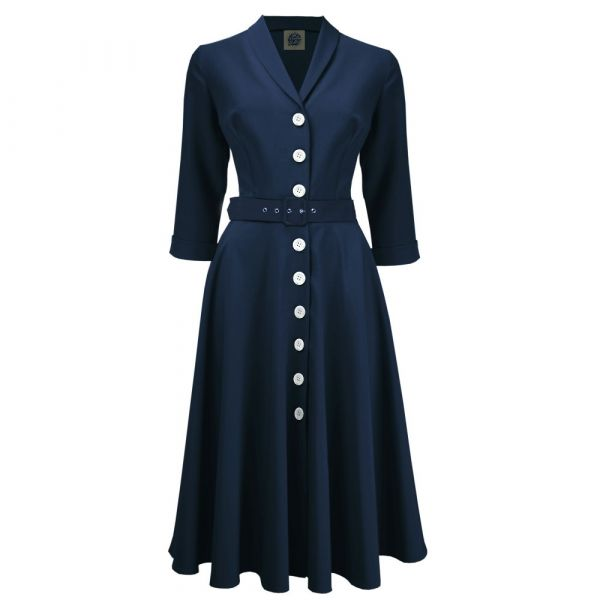 Swing Dress, PRETTY RETRO 50s Shirtwaister Navy