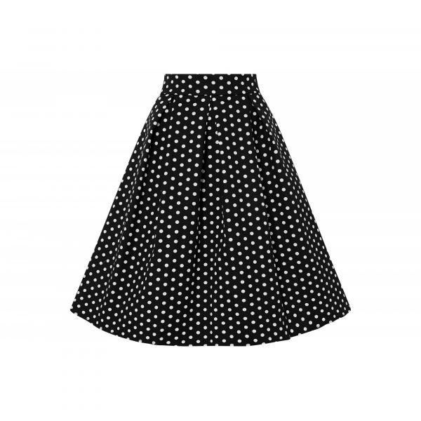 Swing Skirt, ROCHELLE Polkadot Black