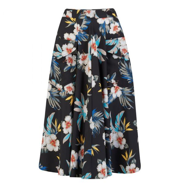 Swing Skirt, ROCK'N Black Hawaiian