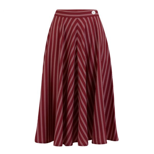 Swing Skirt, ROCK'N Maroon Stripe