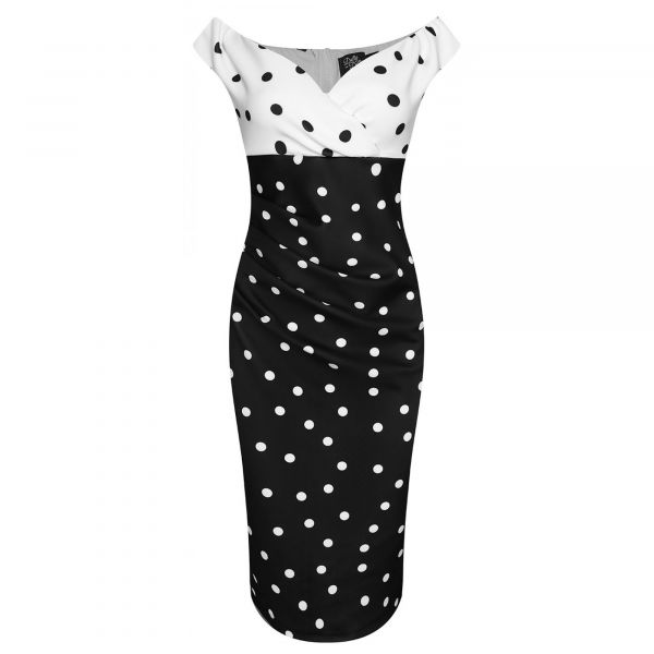 Pencil Dress, ISABELLA Polka (SLIM4)