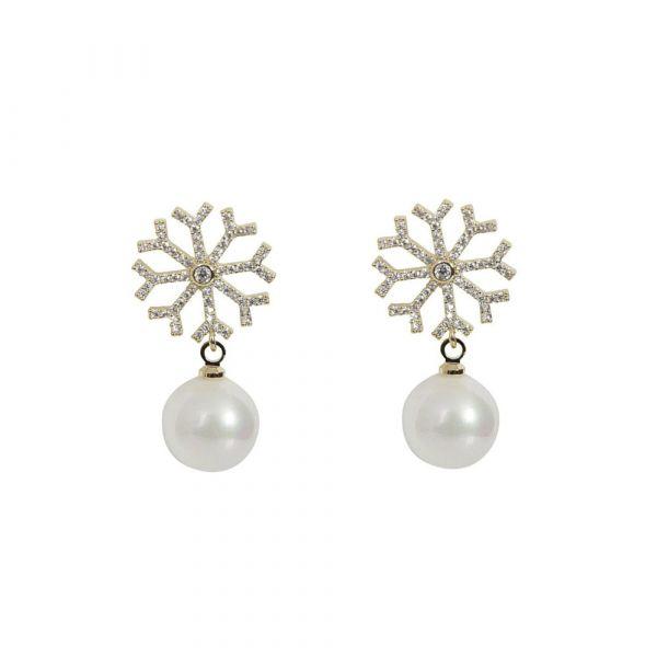 Earrings, SNOWFLAKE Pearl