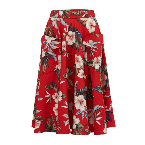 Swing Skirt, ROCK'N Red Hawaiian