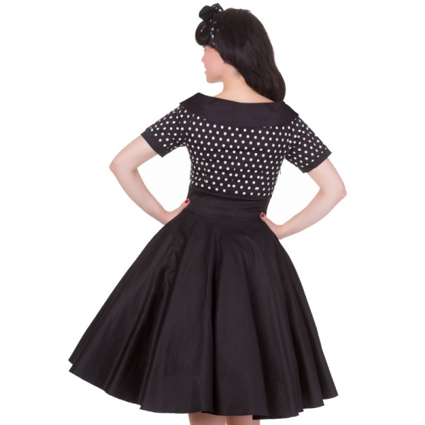 Swing Dress, DARLENE Black Polka (V333)