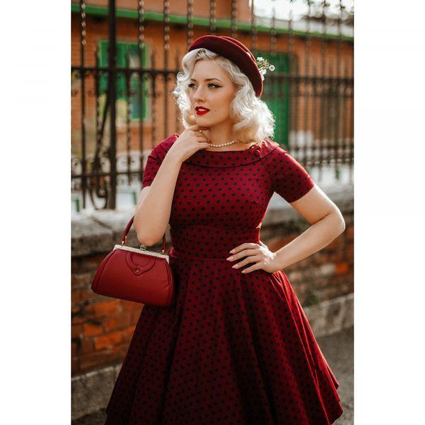 Swing Dress, DARLENE Burgundy Polka KO