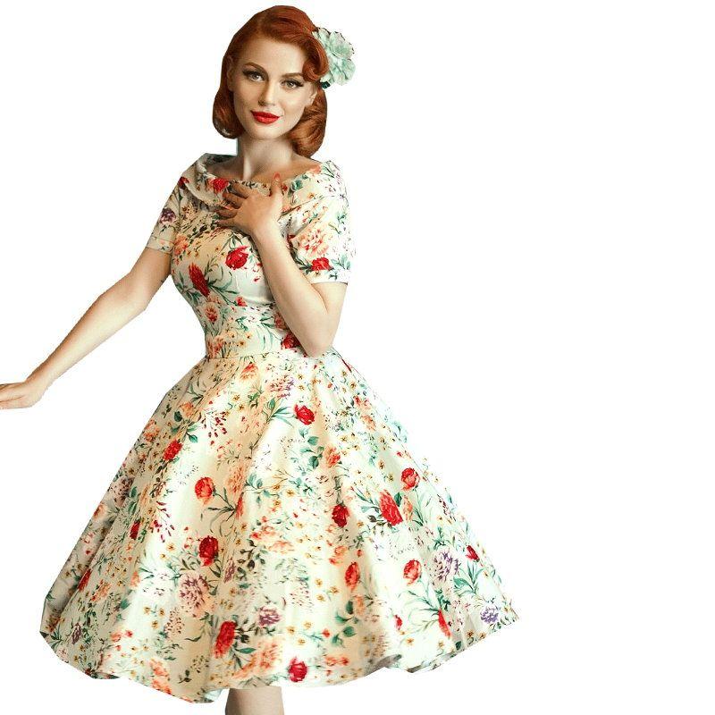 f72ed29ba8345 Swing Dress, DARLENE Green Floral - Dressy