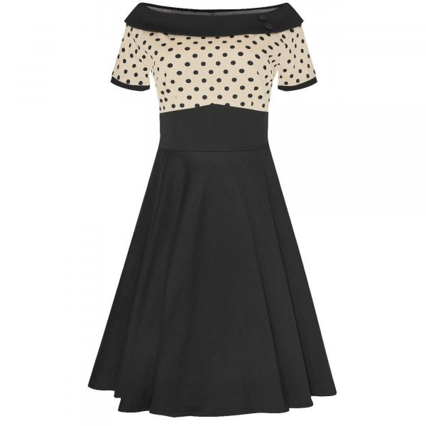 Swing Dress, DARLENE Sand Polka (333-12)