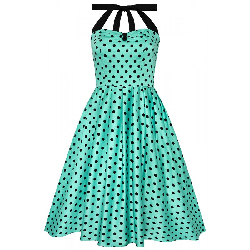 Swing Dress, SOPHIA Turquoise Polka (646-8)