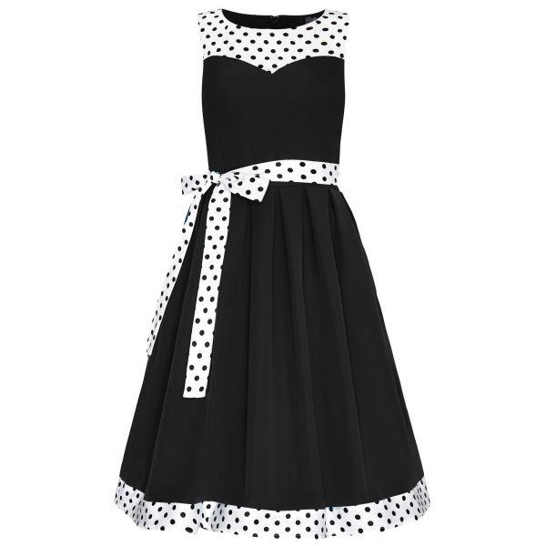 Swing Dress, ELIZABETH Blk/White Polka (724-16)