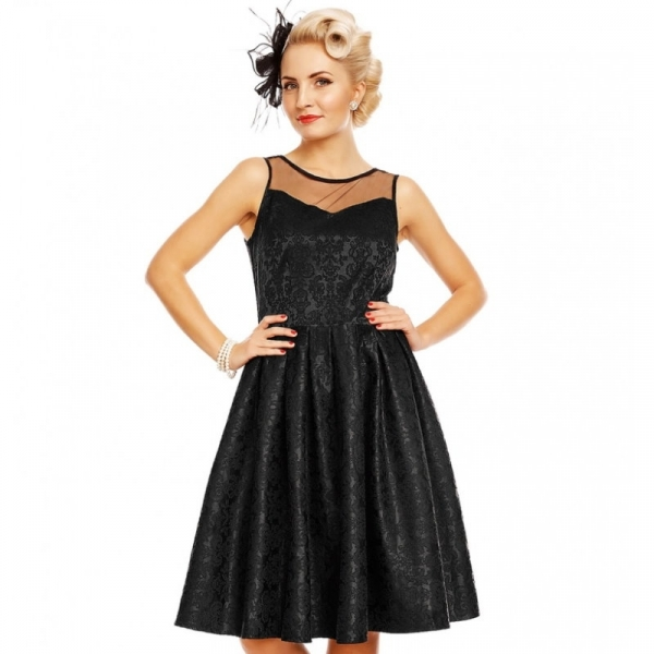 Swing Dress, ELIZABETH Black Jacquard (V724)