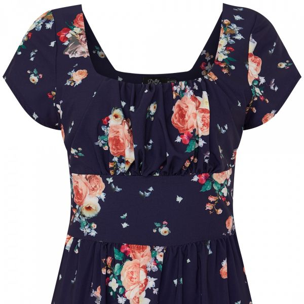 Dress, VIKTORIA Navy Floral (855-5)