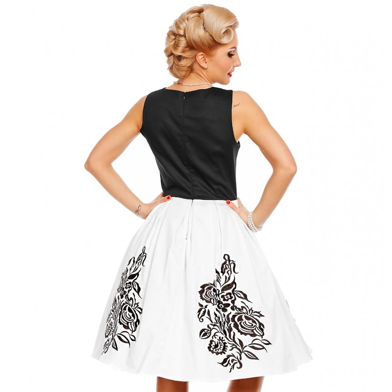 Swing Dress, ANNIE White Rose Embro (905-5)