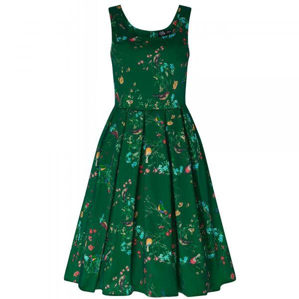 Swing Dress, AMANDA Birds Emerald (950-21)