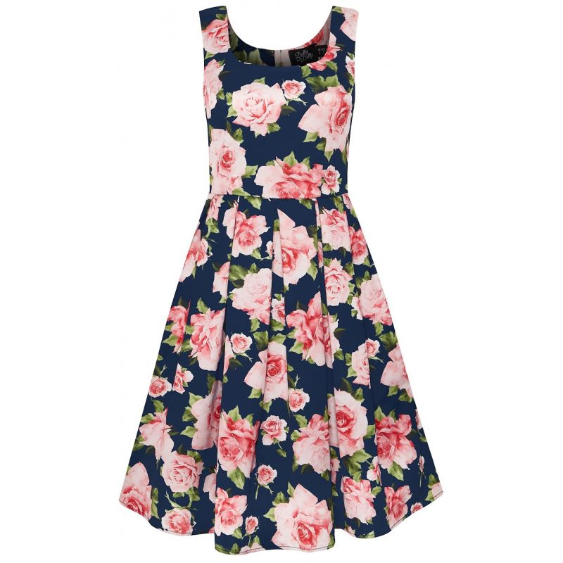 Swing Dress, AMANDA Navy Rose (950-36)