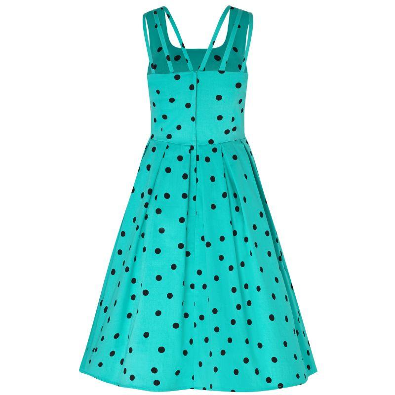 Swing Dress, PATRICIA Polkadot Turquoise (954-5)