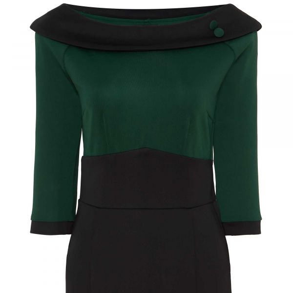 Pencil Dress, DENISE Black/Green (333-1)
