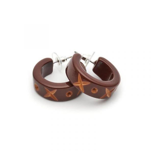 Earrings, SPLENDETTE Walnut Hoop