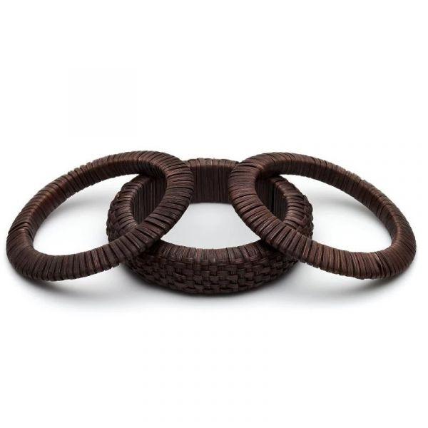 Bracelet Set, SPLENDETTE Woven Bamboo Dark Brown