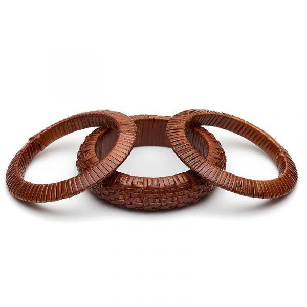 Bracelet Set, SPLENDETTE Woven Bamboo Mid Brown